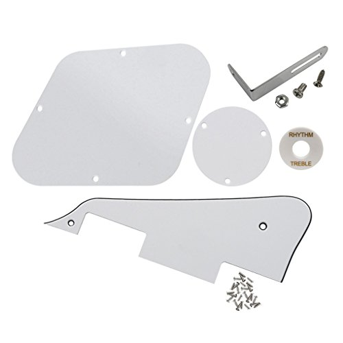 (FLEOR 3Ply White Guitar Pickguard Scratch Plate Back Plate Guitar Screws Set & Toggle Switch Plate(White) & Silver Bracket Fit Gibson Les Paul Pickguard Replacement)
