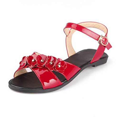 AllhqFashion Womens Cow Leather Solid Buckle Open Toe No Heel Sandals Red 9ozsWDjzf