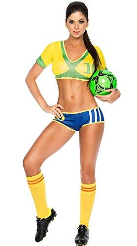 Adam's Temptation Women's Brazil Soccer Babe Sport Lingerie Costume Set (One Size)