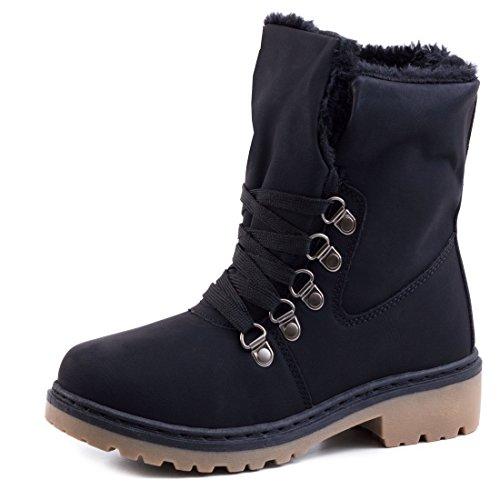 Damen Winter Schnür Boots Schuhe Stiefel mit Kunstfell in Lederoptik warm gefüttert Schwarz 41