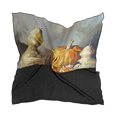 Women's Soft Polyester Silk Square Scarf Pumpkin Vegetable Organic Decorative Crop Painting Art Fashion Print Head & Hair Scarf Neckerchief Accessory-23.6x23.6 Inch