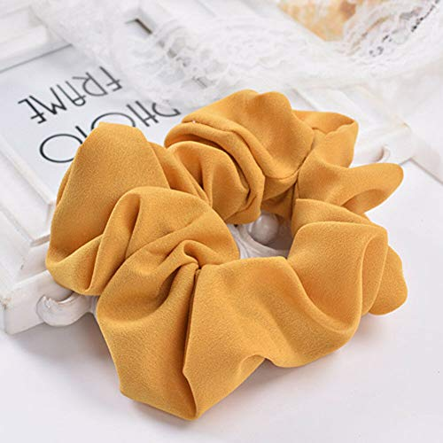 Womens Elastic Hair Rope Ring Tie Scrunchie Ponytail Holder Hair Decor Headband (Color - yellow)