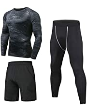 Niksa 3 Pcs Mens Fitness Gym Clothing Set,Sports Wear Exercise Clothes Men Activewear,Loose Fitting Shorts Compression Shirt Pants for Workout Training Running(Short Sleeve(153519),M)
