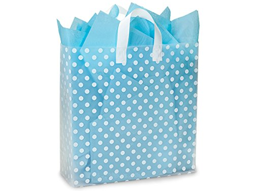 Pack Of 100, Queen Size 16 x 6 x 16'' Polka Dots Plastic 4 Mil Shopping Bags W/6 Mil Handle by Generic