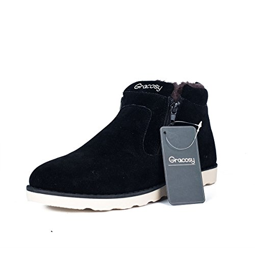 Men's Snow Boots,Gracosy Korean Style Warm Casual Shoes Rubber Sole Winter Snow Boots Cotton Shoes Cold-Weather Boots with Velvet Zipper Black 44