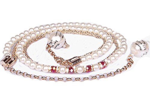 YABINA Layered 2 Row Strand Stone Pearl Chain Link Belt (Rose (New Belt Bling Buckle Crystal)