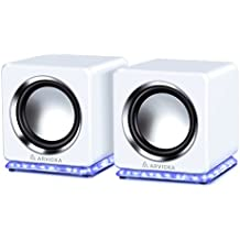 ARVICKA Blue LED USB Speakers- Wired Laptop Speakers 2.0 Channel Small Computer Desktop Speakers for PC, Echo Dot, Updated Version, White