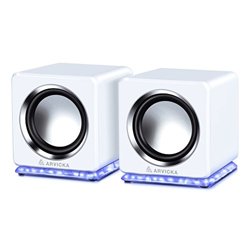 ARVICKA Blue LED USB Speakers- Wired Laptop Speakers 2.0 Channel Small Computer Desktop Speakers for PC, Echo Dot, Updated Version, White - Net Media Low Light