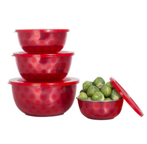 (Red Microwave Safe Stainless Steel Mixing Serving Bowl Set - 4 Mixing Bowls with)