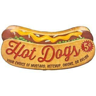 MMNGT Hot Dog Embossed Decoration Die Cut Tin Sign Decoration Gift TIN Sign 7.8X11.8 INCH