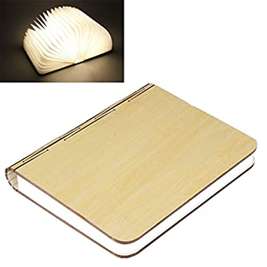 Excelvan Wooden Folding LED Booklight Lamp Nightlight 500 Lumens Rechargeable(Yellow)