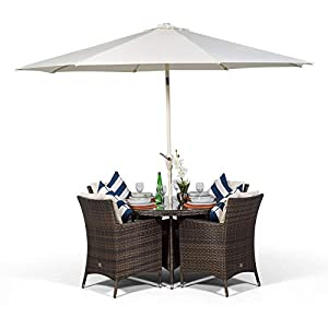 Savannah Rattan Dining Set | Luxury Round 4 Seater Brown Rattan Dining Set | Outdoor Poly Rattan Garden Table & Chairs Set | Patio Conservatory Wicker Garden Dining Furniture with Parasol & Cover