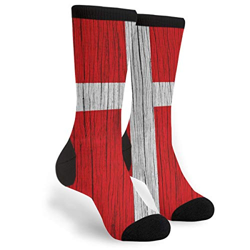 Packsjap Wooden Texture Danish Flag Men & Women Casual Cool Cute Crazy Funny Athletic Sport Colorful Fancy Novelty Graphic Crew Tube Socks ()