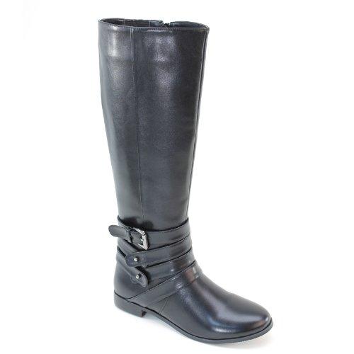 Brieten New Womens Buckle Knee High Comfort Low Heel Dress Boots