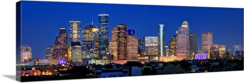 Canvas 2018 Houston Skyline Night 12 inches X 36 inches Color City Downtown Photographic Panorama Print Picture