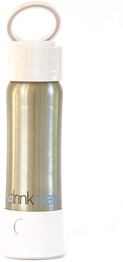 Drinkmate instaFizz - Portable Sparkling Water and Soda Maker Bottle, Carbonate ANY Drink On the Go - Includes 21oz Stainless Steel, Eco-Friendly Bottle - White (includes four 8g CO2 chargers)