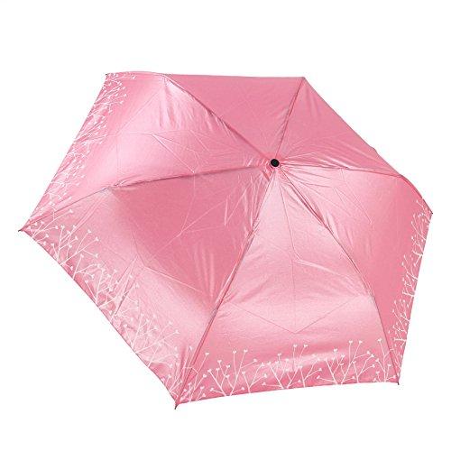Greenery Rosenvase Design Taschenschirm Mini Schirm Faltender Regenschirm Folding Bottle Umbrella UV-Schutz Sonnenschirm mit Rose Griff Gechenk für Kinder Modische Damen Bürodamen Outdoor Camping (Rosa)