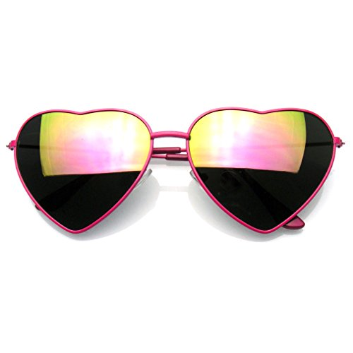 Cute Womens Metal Heart Shape Flash Revo Mirrored Sunglasses - Cute Mirrored Sunglasses