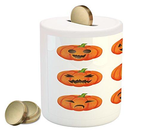 Lunarable Pumpkin Piggy Bank, Jack o Lanterns with Various Face Expressions Winking Smiling Sad Surprised Image, Printed Ceramic Coin Bank Money Box for Cash Saving, Orange Green -