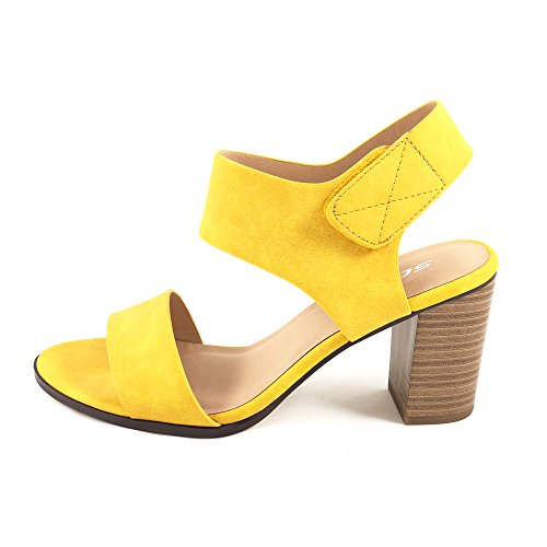SODA Topshoeave Wait Womens Open Toe Chunky Heel Ankle Strap Shoes Block High Heel Dress Sandals (11 B(M) US, Yellow NBPU) ()