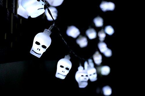 DESERT FOX 10ft 30 LED Skulls String Light,Halloween Horror Nights Decoration For Bedroom,Garden,Patio,Xmas Party(AA, Battery-powered) (White)