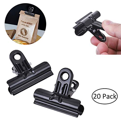 YoungRich 20 Packs Bag Clips Metal Bulldog Clips for Food Picture Paper Crafts Clothes Large Binder Clips Air Tight Seal Grip Clips for Kitchen School Office 1.8inch Black