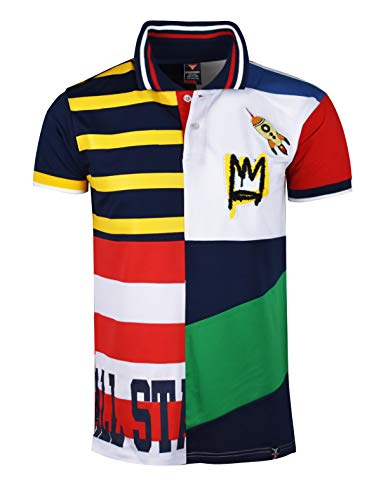 SCREENSHOTBRAND-S11931 Luxury Hip-Hop Premium Tees - Stylish High Density Chinelle Patch Color Block Striped Polo -Navy-3XLarge