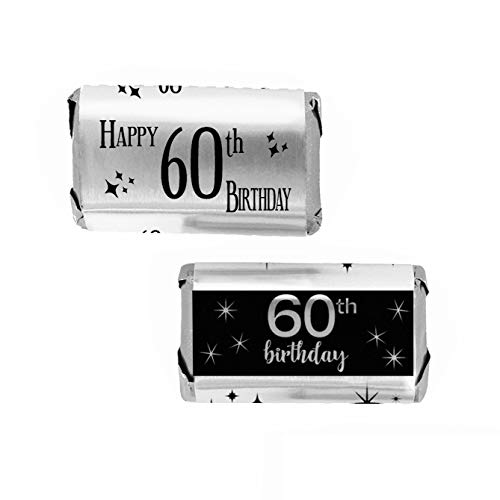 Black and Silver 60th Birthday Mini Candy Bar Wrappers   Shiny Foil   54 -