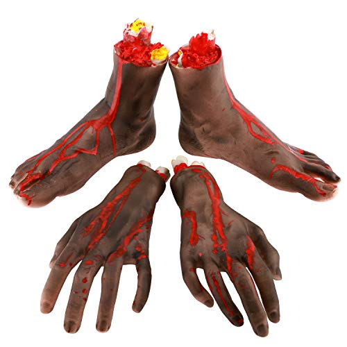 - Zooawa Bloody Broken Feet Hands, [4 Pieces] Vivid Terror Severed Fake Body Parts for Halloween Costume Play, Black