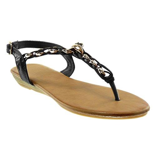 Angkorly Damen Schuhe Sandalen Flip-Flops - T-Spange - Kette - Golden - Geflochten Keilabsatz 2.5 cm
