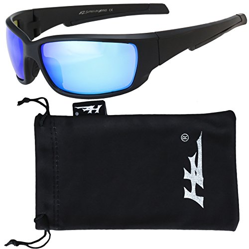 HZ Series Superfit - Premium Polarized Sunglasses by Hornz – Sunglasses for Men – Full Frame Strong Arms – Matte Black Frame – Ice Blue Mirror - With Sunglasses Lenses Black Blue