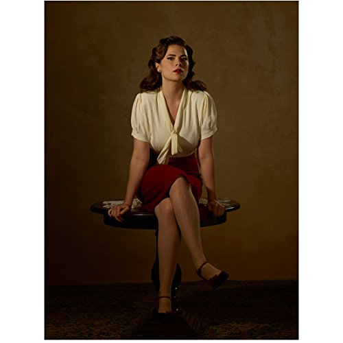 Agent Carter Hayley Atwell as Peggy Carter in Red Pencil Skirt and White Blouse Legs Crossed 8 x 10 inch photo