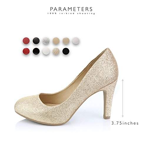 Formal Platform DailyShoes Gold Cushioned high Comfortable Shoes Toe Lady Glitter Elegant Casual Round Low Women's Hidden Stiletto Heels Office Pumps prTpU8