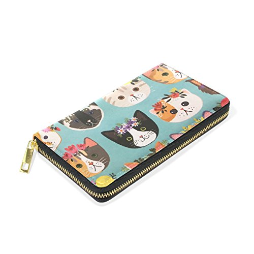 Leather Wallet Clutch Cats TIZORAX Zip Around Flower Handbags Organizer And Purses Womens q7nAfPt