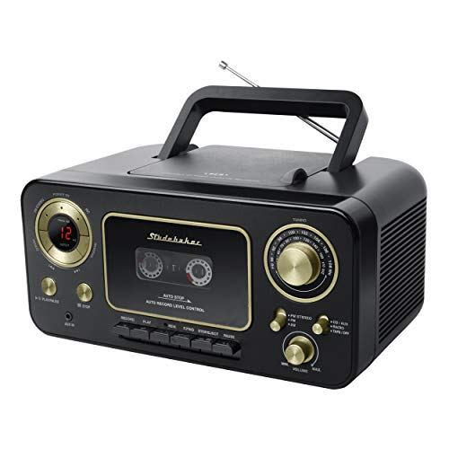 Studebaker SB2135BG Portable CD Player with AM/FM Radio and Cassette Player/Recorder in Black and Gold (Portable Radio Cd Cassette Player)