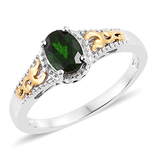 925 Sterling Silver 14K Yellow Gold and Platinum Plated 1 Cttw Oval Chrome Diopside Ring For Women Size 5