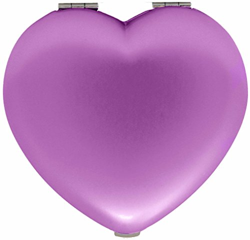 Pink Heart Folding Compact Pocket Makeup Mirror Double Sided (5x magnification + 1x magnification) in Gift Box for Travel, Birthday, Wedding, Anniversary Gift