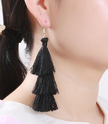 f43f90c83 ELEARD Tassel Earrings Tiered Thread Tassel Dangle Earrings Statement  Layered Tassel Drop Earrings