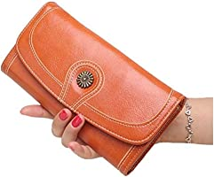 ad59496c6 YIXUN Billetera para Mujer Cuero de PU Mate Bloqueo Tech Monedero ...