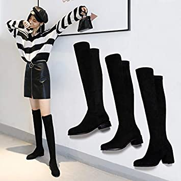 2814ea7c7897 TSNMNB Mid-heeled boots female over-the-knee boots high-heeled spring