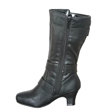 shoewhatever Low Heel Mid Calf Boots with Three Belt Buckles and Side Zipper