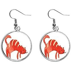 arete de plata con diseño de gato, color rojo