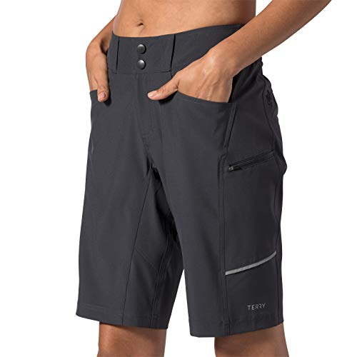 Terry Women's Metro Short Relaxed Lite Bicycle Shorts - Relaxed Fit for Those Looking for Extra Room Through The Hip and Thigh- Ebony - Small