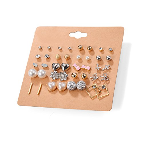 Unique Queen Women's Girl's Stainless Steel Assorted Multiple Stud Earring 20 Style Sets,Hypoallergenic (Style-6)