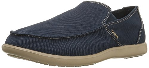 (crocs Men's Santa Cruz Clean Cut Slip-On Loafer, Navy/Tumbleweed, 11 M US)