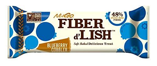 NuGo Fiber d'Lish Bar, Blueberry Cobbler, 1.6 Ounce, (Pack of (Fibre Bar)