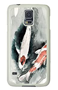 Gertal Pond Koi PC Case Cover for Samsung S5 and Samsung Galaxy S5 White
