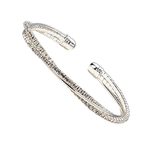 - IDesign Clear Crystal Rhinestone Bracelet Bangle Plated Silver Jewelry for Women Girls