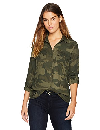 Jessica Simpson Women's Petunia Collared Long Sleeve Button Up Shirt, Forager's camo Print, ()