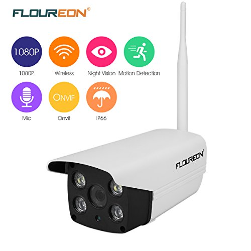 FLOUREON 1080P Outdoor Wireless WiFi IP Camera 2.0 Mega Pixel Home Security Bullet Camera Waterproof Support Two-Way/ONVIF/Motion Detection/ Video Recorder (1080P Outdoor Camera)